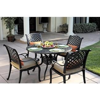 Juego de comedor Darlee Nassau de aluminio fundido de 5 piezas con cojines de asiento y mesa de comedor redonda de 48 pulgadas, acabado en bronce antiguo