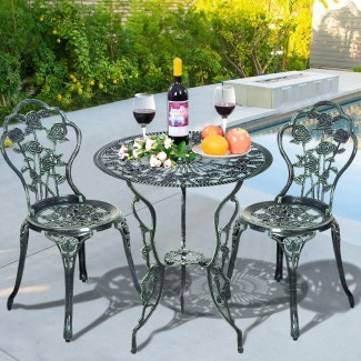 Muebles de patio de aluminio fundido Rose Design Bistro Set ...