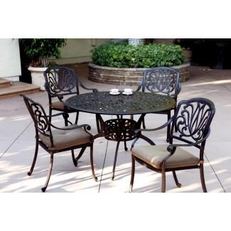 """Juego de comedor para muebles de patio Mesa redonda de aluminio fundido de 48 """"..."""