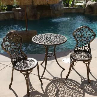 Juego de 3 Bistro Bistro en muebles antiguos de patio para exteriores ...
