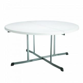 Lifetime 25402 Comercial Plegable redondo en media mesa, 5 pies, granito blanco
