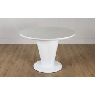 Redondo blanco alto brillo Mesa de comedor Decoración de la sala de estar ...