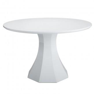 Mesa de comedor redonda blanca de alto brillo Sanara | Comprar otro