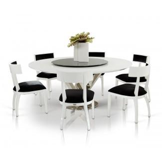 A&X Spiral Mesa de comedor redonda moderna blanca con Lazy Susan