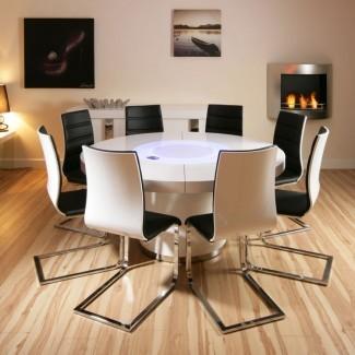 Mesa de comedor blanca brillante redonda grande y 8 blanco /