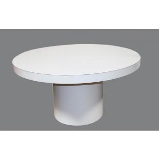Mid Century Mesa de comedor redonda blanca moderna Base de tubo
