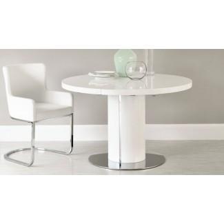 Juego de mesa de comedor extensible redondo blanco brillante