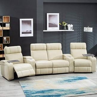 Sofá reclinable con asientos reclinables para cine en casa Sofá reclinable reclinable para teatro con almacenamiento y portavasos