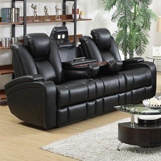 Sofá eléctrico reclinable Delange con reposacabezas ajustables y almacenamiento en apoyabrazos negro