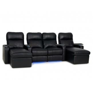 Sofá de cuero para cine en casa (fila de 4)