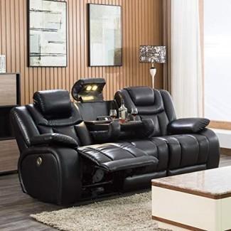 Sofá reclinable Asientos de cine en casa Sofá eléctrico Power Theater Sofá reclinable reclinable con reposacabezas ajustables y almacenamiento, mesa plegable, AC / USB y portavasos