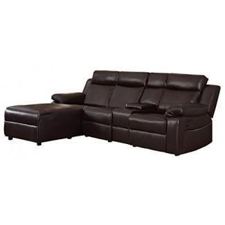 "Homelegance Dalal 102 ""seccional reclinable con consola, marrón"