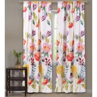 Briaroaks Nature / Floral Sheer Rod Paneles de cortina de bolsillo (Juego de 2)