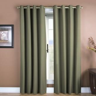 Color sólido de azafrán Panel de cortina simple con ojal semi-transparente