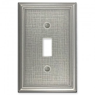 Cubierta de interruptor de luz de palanca única metálica con textura de lino