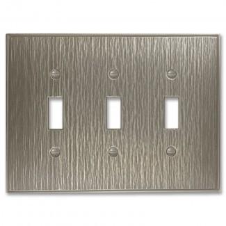 Cubierta de interruptor de luz de palanca triple de metal decorativo de sarga