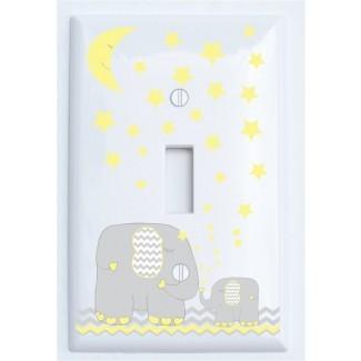 Cubierta de placa de interruptor de luz de elefante con estrellas