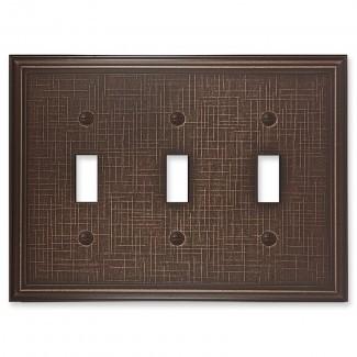 Metall Textured Metall ic Cubierta de interruptor de luz de palanca triple