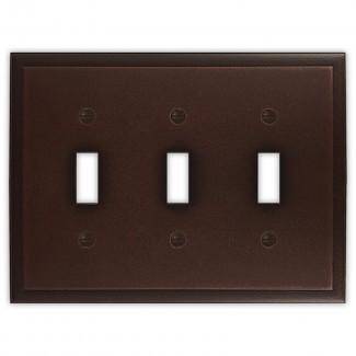 Cubierta de interruptor de luz de palanca triple de metal decorativo ambiental