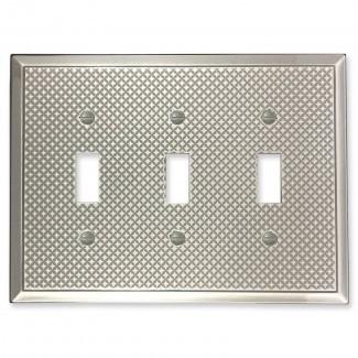 Pyramid Decorative Metal Triple Toggle Cubierta del interruptor de luz