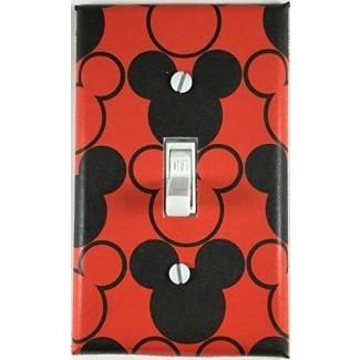 Luz decorativa roja negra Mickey Mouse Placa de pared de la cubierta del interruptor