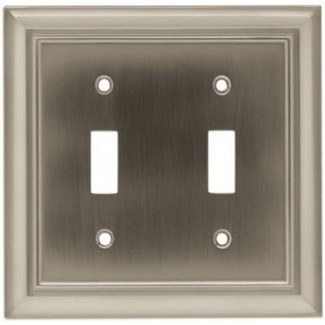 BRAINERD 64208 Architectural Double Toggle Switch Placa de Pared / Switch Plate / Cover Satin nickel