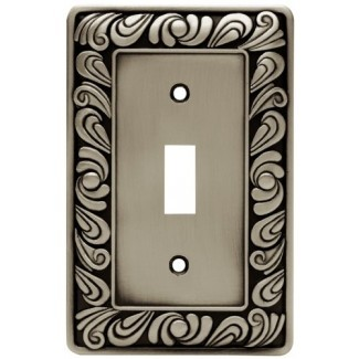 Franklin Brass 64048 Placa de pared / placa / tapa del interruptor de palanca simple Paisley, peltre satinado cepillado