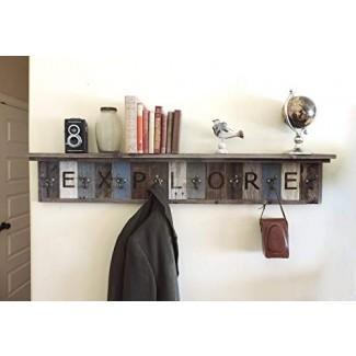 """Perchero de madera recuperable personalizable con estante de almacenamiento de 4 """"de profundidad, sombrero de abrigo rústico montado en la pared Ganchos de paraguas, pasillo de entrada Decorativo: su elección de longitud y colores. AllBarnWood Decor"""