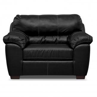 MUEBLES Silla de cuero negro y medio reclinable para ...