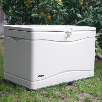 Almacenamiento exterior Caja de cubierta de plástico de 80 galones