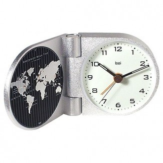 Reloj despertador de viaje moderno World Trotter en Gotham White