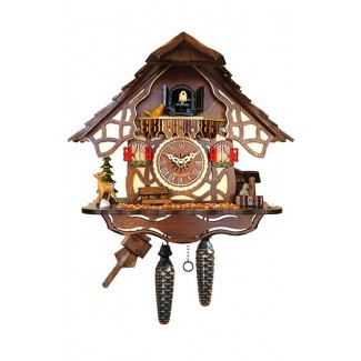 Reloj de pared de cuco de madera con batería