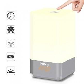 Reloj despertador con luz de despertador, reloj despertador Haofy Sunrise con 5 sonidos naturales, lámpara de atmósfera con control táctil recargable USB Luz de noche regulable multicolor para mesita de noche, mesa, regalo