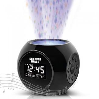 Imagen más nítida Máquina de sonido Reloj despertador con proyección de estrellas, 6 pistas de terapia de chupete de sonido natural, pantalla de temperatura y fecha, funciones de alarma y temporizador