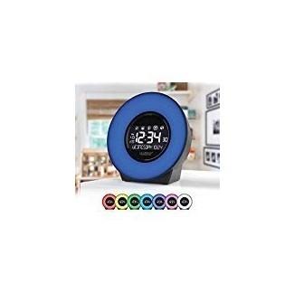 La Crosse 7 Color Mood Li ght Despertador LCD con Sonidos de la Naturaleza