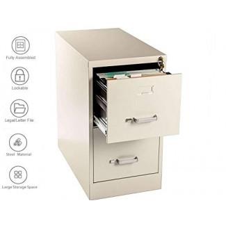 Gabinete Henlus de 2 cajones con cerradura ignífuga Contenedor de metal debajo del escritorio para la oficina en el hogar