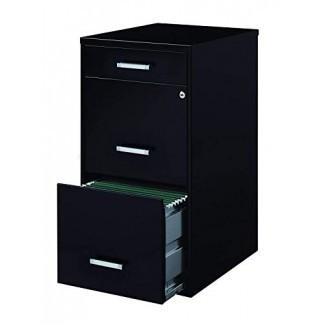 """Office Dimensions - Organizador de archivador de metal, 18 """"de profundidad, 3 gavetas con cajón para lápices, negro (1 unidad)"""