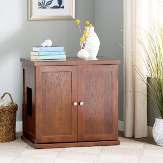 Clementine Wood Litter Box Cabinet