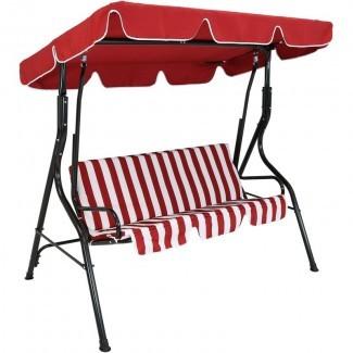 Sunseri - Asiento a rayas para 3 personas con columpio para patio exterior con toldo