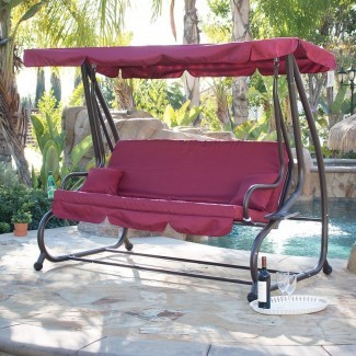 Mossley Canopy Porch Swing con soporte