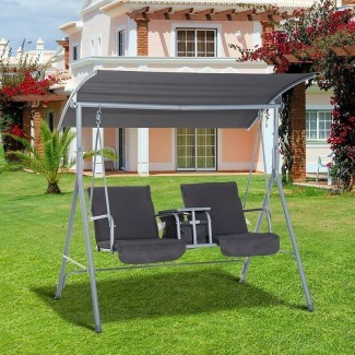 Columpio de porche para patio cubierto con soporte de Laron