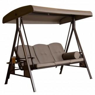 Rohrbaugh - Columpio de porche para exterior con 3 asientos con soporte
