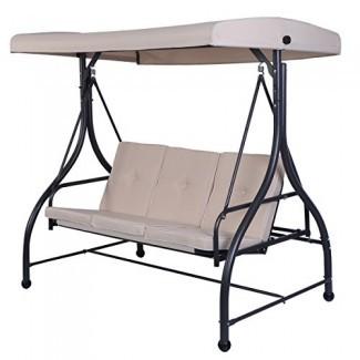 Tangkula Converting Hamaca con dosel para columpios al aire libre 3 asientos Muebles de terraza para patio