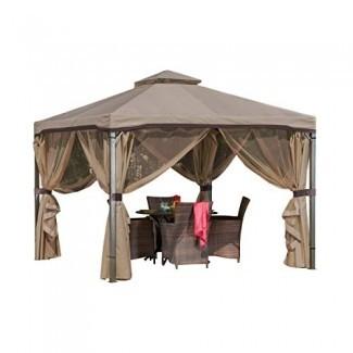 Sonoma Canopy Gazebo, Carpa de jardín de techo suave de 10 'x 10' con mosquitera y cortinas de sombra para patio o terraza