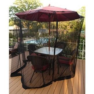 Sombrilla para patio Mosquitera - Malla de poliéster con abertura de cremallera y tubo de agua en la base para sostener en su lugar - Ayuda a proteger contra los mosquitos - Se adapta a sombrillas y mesas de patio de 9 pies - Negro