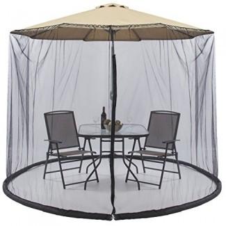 Best Choice Products 9ft Patio Umbrella Bug Screen w / Puerta con cremallera, Malla de poliéster - Negro