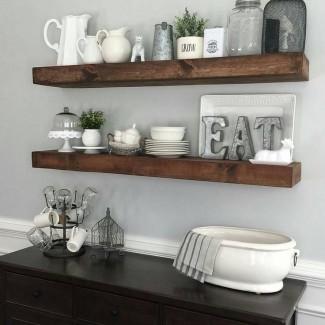 Cocina moderna estantes de cocina decorativos montados en la pared ...