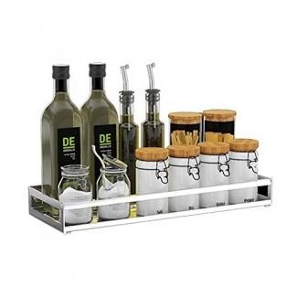 LPYMX Estante de cocina, estante de especias de montaje en pared de acero inoxidable Estante de baño de balcón multifunción