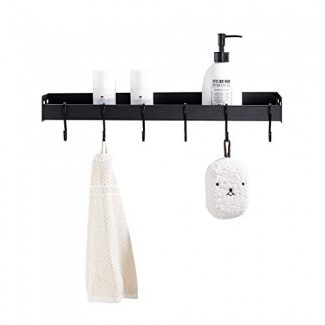 LIKAMU Kitchen - Estante flotante negro con ganchos, estante de baño de gran tamaño montado en la pared Estante organizador de estante en la pared