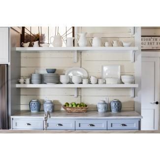 Country White Estantes de cocina de madera de pino pintada de ...